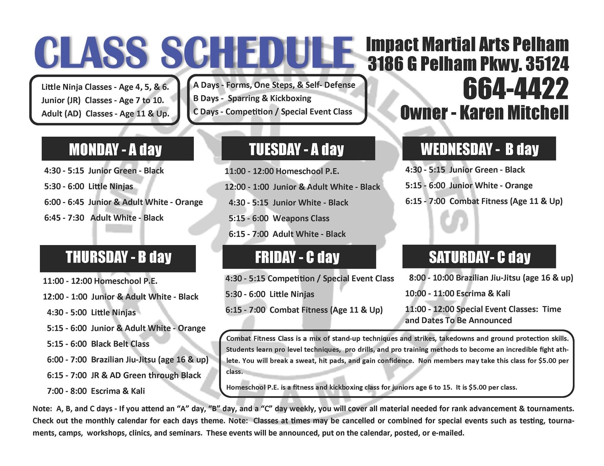 Impact Martial Arts - Pelham, AL - Class Schedule 2018